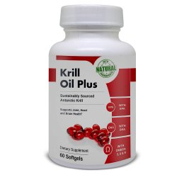 Bottle of krill oil tablets