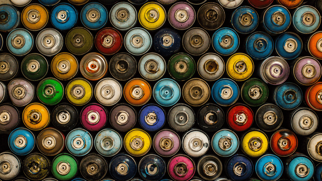Paint cans piled up