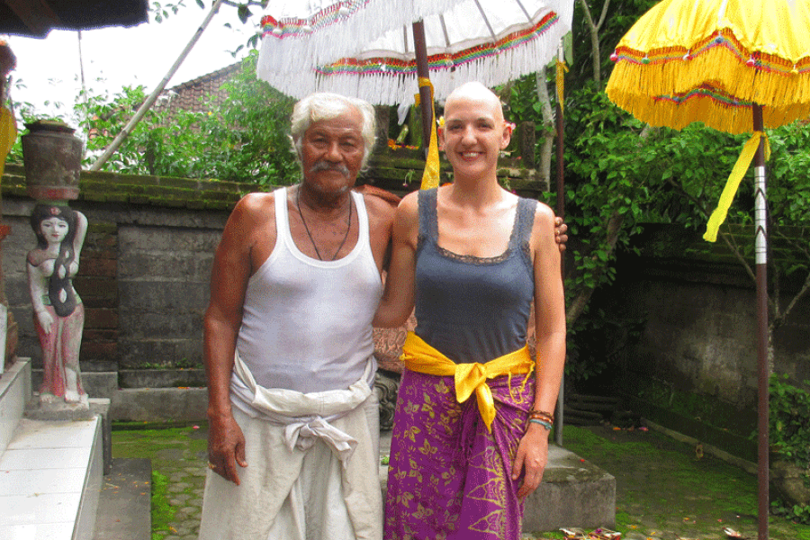 Friendly Bali healer with far more hair than me.