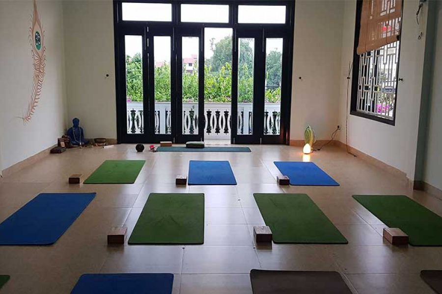 Mats arranged in my yoga class