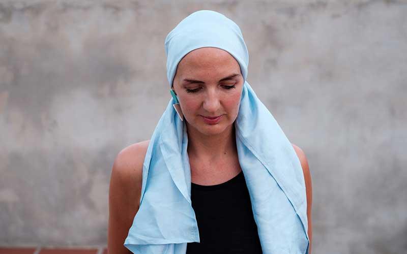 blue headscarf