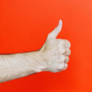 A thumbs up sign indicates more positive reactions