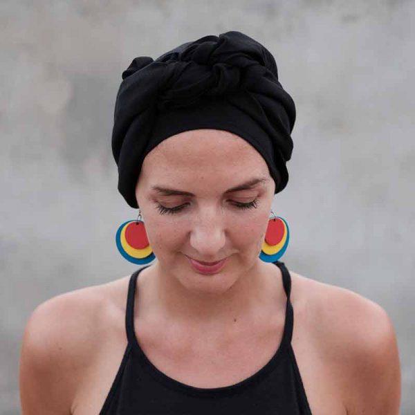 Black alopecia head scarf