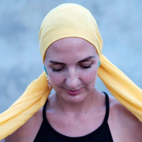 yellow alopecia head scarf