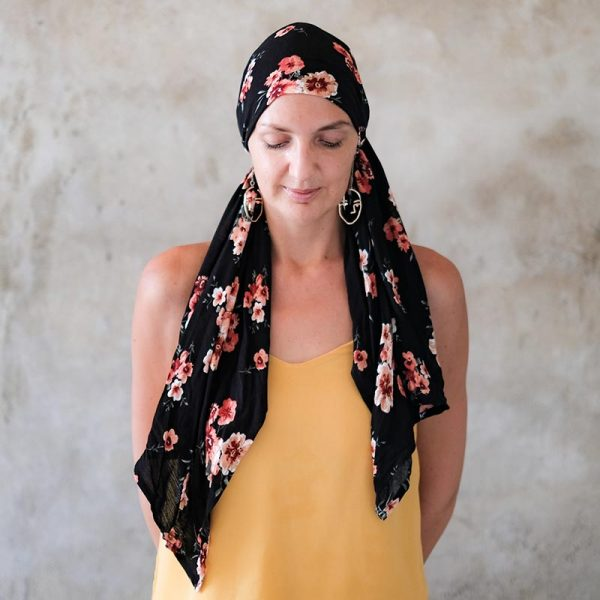 black-floral-headscarf