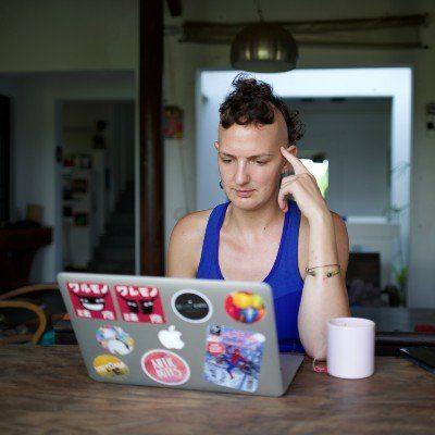 Emma laptopping away