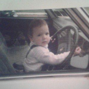 Baby Emma in a car