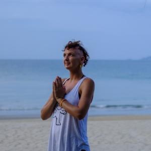 Practising gratitude in prayer hands